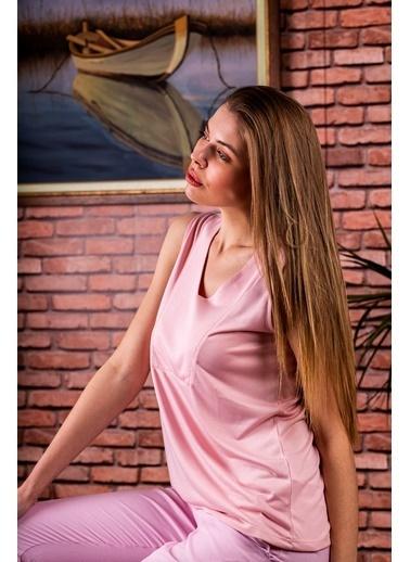 Stamina  Bayan V Yaka Kolsuz Bluz-5VS07 Pudra